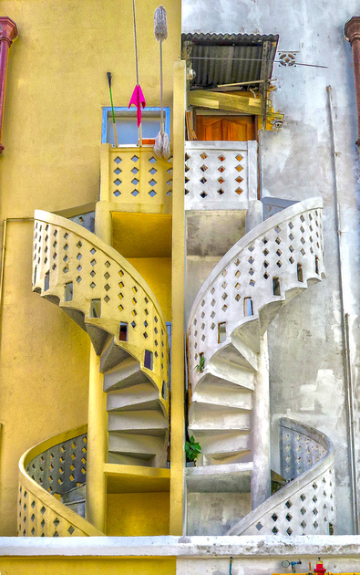 Precast concrete spiral staircase in Singapore. An icon of Singapore's heritage architecture.