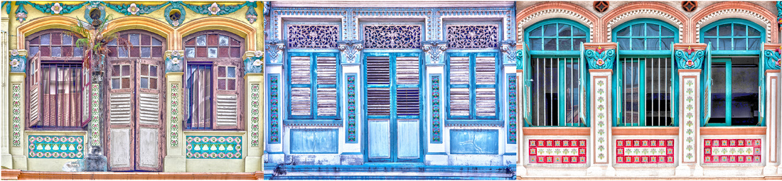 brightly coloured wooden shophouse window frames, fretwork and Peranakan tiles.