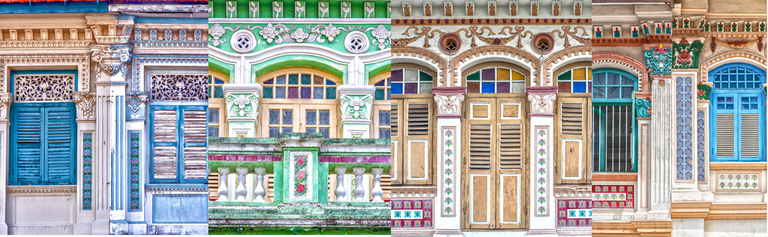 Window designs, Shophouses in Singapore. Wooden frames, fretwork and Peranakan tiles.